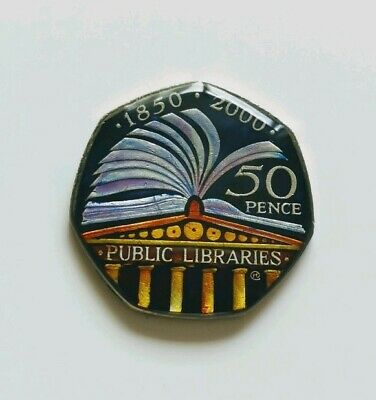 Enamelled Coin 50 pence - UK 2000 Public Libraries 50p