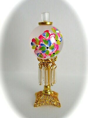 dollhouse doll house miniature ELECTRIC VICTORIAN TABLE LAMP PINK BLUE FLOWER