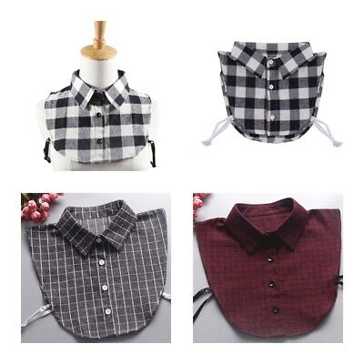 Women Grid Shirt Fake Collar Detachable Collar Lapel Blouse False Collar US