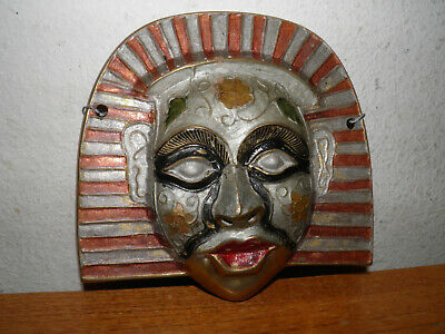 "Vintage Egyptian Revival Mask Enameled Solid Brass 7x7"" Wall Hanging Face Metal"
