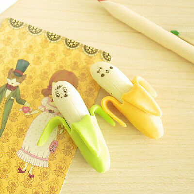 2Pcs Funny Cute Banana Pencil Eraser Rubber Novelty Toy For Children Kid Gift U1