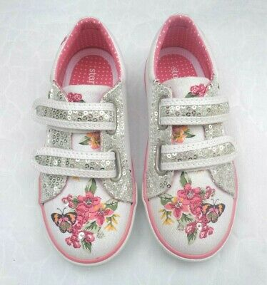 Girls Startrite Botanical White Sparkle Sequin Butterfly Canvas Shoes Uk10