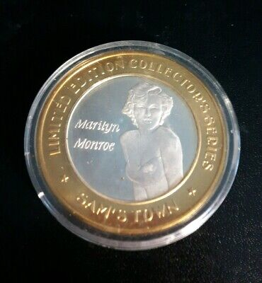 MARILYN MONROE $10 GAMING TOKEN .999 FINE SILVER COIN Lmtd Ed. SAMS TOWN Rob MS