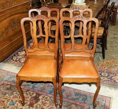 Set of 4 French Antique Louis XV Oak Upholstered Chairs | Dining Room Furniture