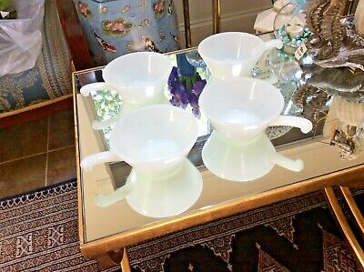 Vintage Anchor Hocking Fire King Set of 4 Milk Glass Soup Chili Bowls W/Handle