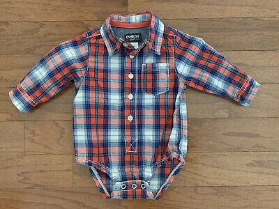 Boy's OshKosh Plaid Button Down Collar Long Sleeve Cotton One Piece Red 9 mos