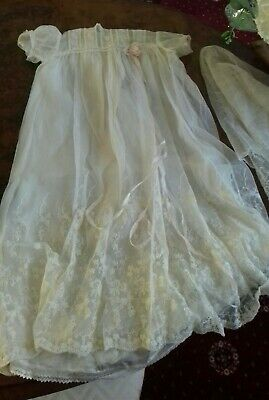Antique Georgian Christening Gown Dress & Petticoat & Vail. Damaged Vintage Doll