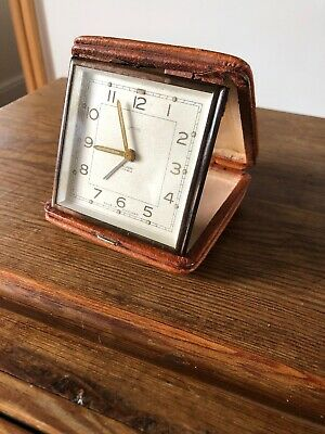 Vintage Smiths Travel Alarm Clock. 7 Jewels , Pig Skin Case , Chained Wind Key .