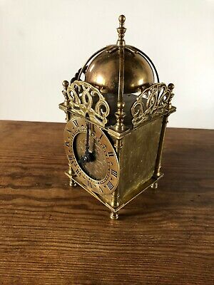 Vintage Smiths Lantern Clock. Pat Electric Movement ' Battery' Brass GWO.