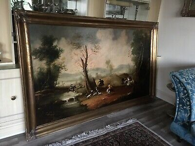 Late 19th Century Large Oil Painting On Canvas Unsigned Gilt Frame