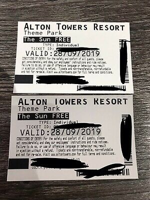 2 X Alton Towers Tickets Sat 28th September 2019