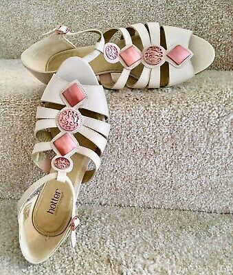 a3502c65cc322 Hotter Shoes Size 6.5 EXF Beige Leather Peep Toe Women's Wedge Sandals Worn  Once
