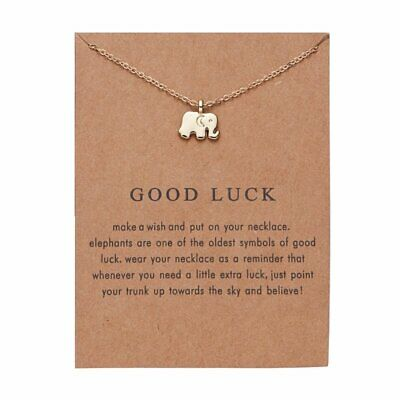Good Luck Elephant Gold Charm Pendant Necklace Womens Choker Jewellery Gifts