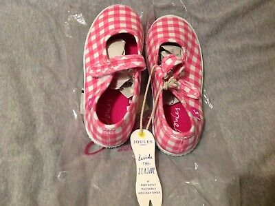 Joules girls size 1 summer / beach shoes, pink / white gingham, BNWT