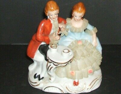 Dresden Porcelain Lace Figurine Man & Woman Marked