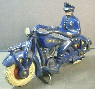 """VINTAGE 1930s CHAMPION CAST IRON TOY MOTORCYCLE COP RIDER 7"""" 95% PAINT 1 ISSUE"""