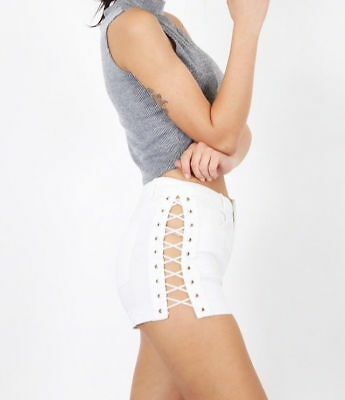 Ladies Shorts Stretch Lycra Lace Up Side Cotton Jean Hot Pants In white Sale £5