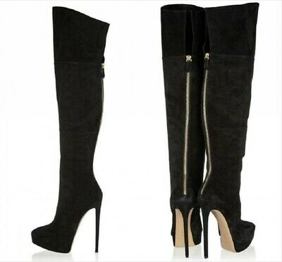 Sexy Ladies Over Knee High Thigh Boots Pointed Toe Stiletto Heel Party Back Zip