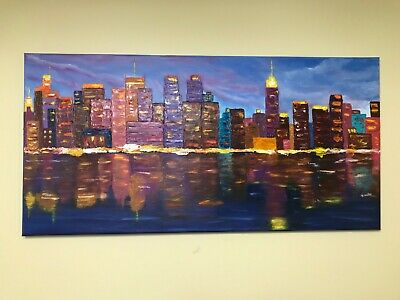 """City Painting on canvas. Textured Acrylic/Oil Palette Knife Artwork. 15"""" x 30"""""""