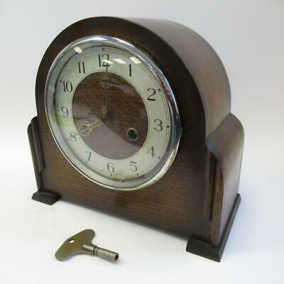 Vintage Smiths Enfield Wooden Mantel Clock - Mechanical Chime Movement with Key