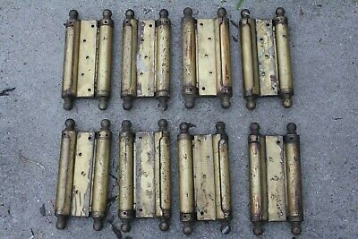 "One Vintage Antique Brass Door Hinge Double Acting 10"" x 4-3/4"""
