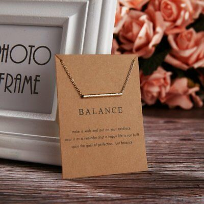Simple Gold Balance Charm Pendant Chain Necklace Womens Jewellery Party Gifts