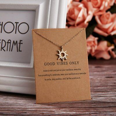 Simple Good Vibes Only Sun Charm Pendant Necklace Womens Jewellery Party Gifts