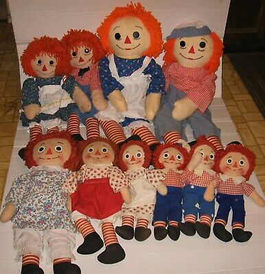 Vintage Old Lot Of 10 Raggedy Ann And Andy Dolls For Restoration
