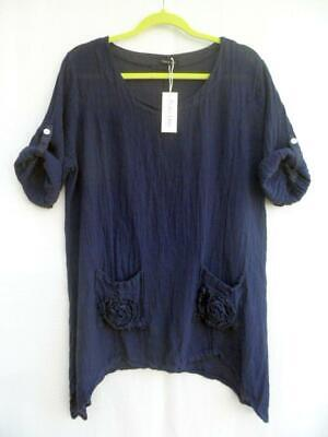 "PLUS SIZE SOFT COTTON LONG TUNIC**GREY**BUST UP TO 60/"" UK Size 18-30 OSFA ITALY"