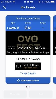 2 Tickets (2 day)- OVO Fest GA-Lawn 8 Budweiser Stage (Aug 4 & 5 @6:30pm)