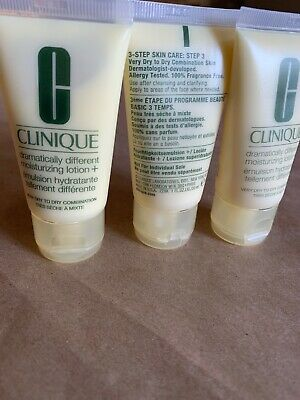 Lot of 3 Clinique Dramatically Different Moisturizing Lotion+ Tube 1oz / 30ml*3