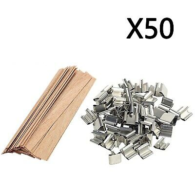 (15*1.25cm) - 50x Candle Wick Wooden Set Natural Wood Core Wicks With Iron