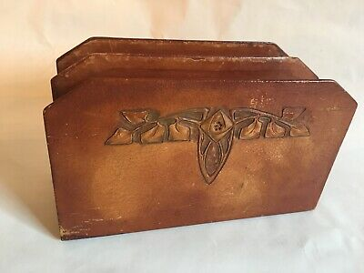 ANTIQUE Cordova Shop Buffalo ROYCROFT Arts & Crafts DESK ART LETTER HOLDER RACK
