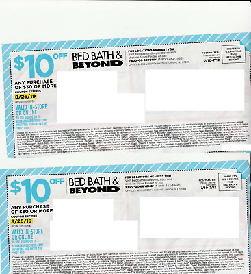 3 Bed Bath Beyond Coupons $10 off $30 purchase Exp 8/26/2019 BBB Coupon