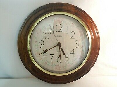 """Sunbeam Quartz Wall Clock Wood Frame w/ Quilted Dial & Glass Face Cover 11 3/4"""""""