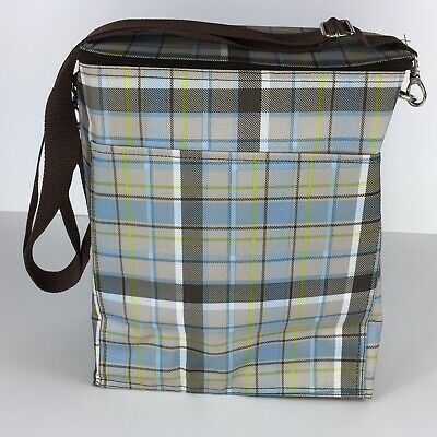 9a82cd57d2c7 THIRTY ONE SHOPPING Picnic Thermal Tote Bag Cooler Insulated Blue Brown  Plaid