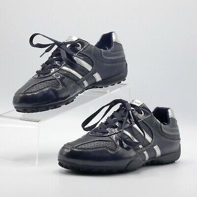 Details about Geox Respira Black Leather Sneakers Shoes Women's Size 39 EU Made in Italy