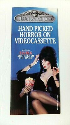 Orig Vtg ELVIRA Mistress Dark THRILLER-VIDEO Horror Tri-Fold Catalog Brochure
