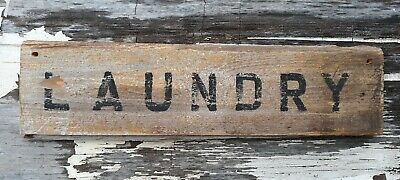 Old early Primitive antique farm chippy Barn wood LAUNDRY sign wash room