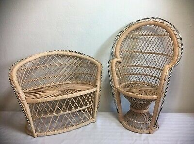 American Girl Doll Size Wicker Rattan Furniture High Back Peacock Couch & Chair