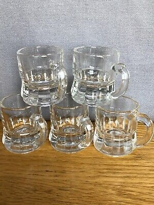 Vintage Set of 5 Federal Glass Mini Beer Mugs Shot Glass Toothpick Holder Clear