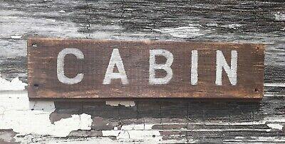 Old early Primitive antique farm chippy Barn wood CABIN sign summer wash
