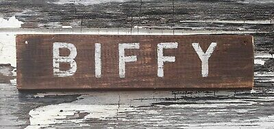 Old early Primitive antique farm chippy Barn wood BIFFY wash room bath sign