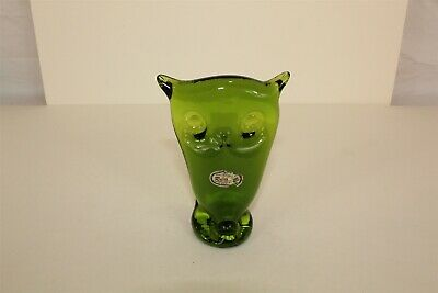 "Green Hand Blown Glass Art Deco Owl Paperweight Vintage Rainbow 4.25"" tall"