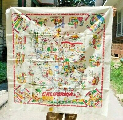 Fabulous Never Used W Tag Vintage 1940'S California State Souvenir Tablecloth