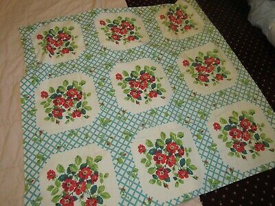 Lovely Vintage 1950's Barkcloth TABLECLOTH 48 x 48 Beautiful Flowers