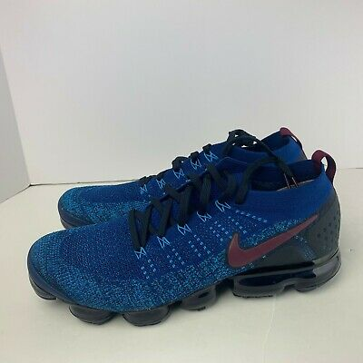 NEW Nike Air VaporMax Flyknit 2 Gym Blue Running Shoes 942842-401 Mens Size 14