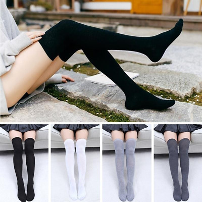 Women Cable Knit Long Stripe Socks Over Knee Thigh High School Girl Stocking New