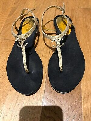 154d61038 Authentic CHANEL sz 38 US 7.5 8 8.5 women Gold logo cc Thong Sandals Flats