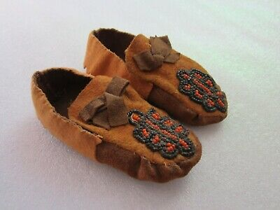 Authentic Original Antique Cheyenne Plains Indian Beaded Leather Moccasins Child